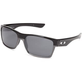 Oakley Men's Twoface Black Polished Rectangular Sunglasses with Black Iridium Lens