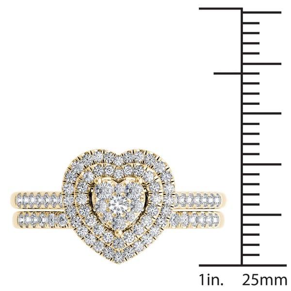 De Couer 14k Yellow Gold 1/2ct TDW Diamond Cluster Heart-Shaped Frame Bridal Set