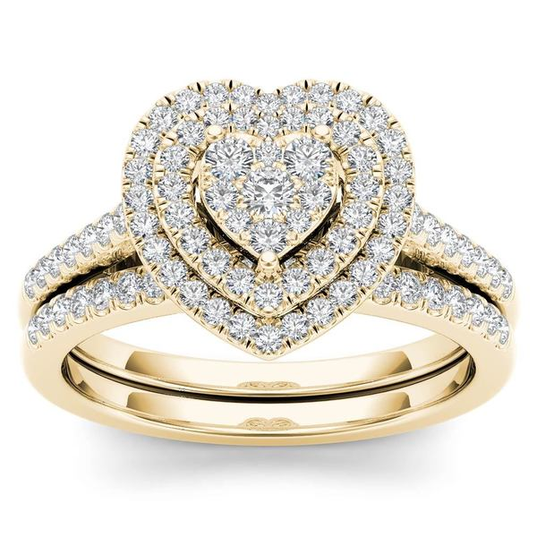 De Couer 14k Yellow Gold 1/2ct TDW Diamond Cluster Heart-Shaped Frame Bridal Set. Opens flyout.