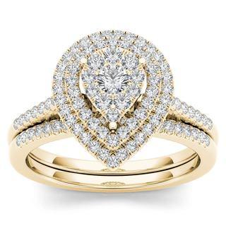 De Couer 14k Yellow Gold 1/2ct TDW Diamond Cluster Pear-Shaped Frame Bridal Set (H-I, I2)