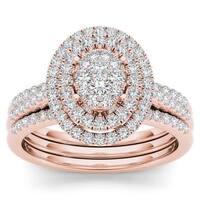 De Couer 14k Rose Gold 5/8ct TDW Diamond Cluster Frame Bridal Set - Pink