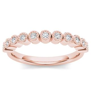 De Couer 10k Rose Gold 1/8ct TDW Wedding Band (H-I, I2)
