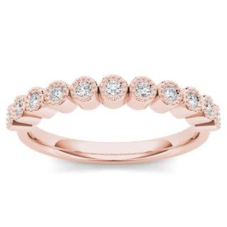 De Couer 10k Rose Gold 1/8ct TDW Wedding Band