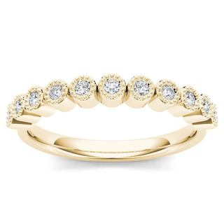 De Couer 10k Yellow Gold 1/8ct TDW Wedding Band