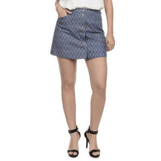 Romeo + Juliet Couture Chevron-print Denim Skirt