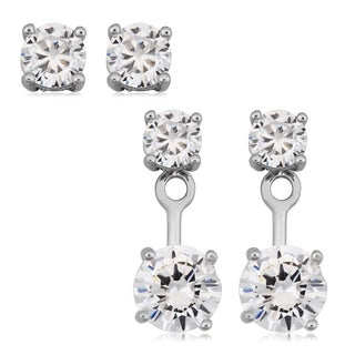 Fremada Rhodium Plated Sterling Silver and Cubic Zirconia Two in One Front-back Errings