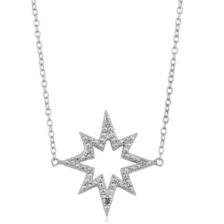 Fremada Rhodium Plated Sterling Silver with Diamond Accent Star Adjustable Length Necklace