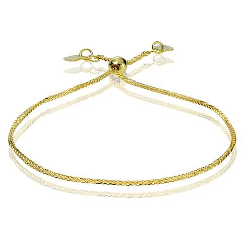 Mondevio 14k White Gold 0.8mm Spiga Wheat Adjustable Italian Chain Bracelet, 7-9 Inches