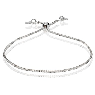 Link to Mondevio 14k White Gold 0.8mm Spiga Wheat Adjustable Italian Chain Bracelet, 7-9 Inches Similar Items in Bracelets