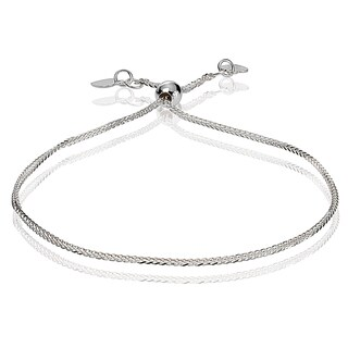 Mondevio 14k White Gold 0.8mm Spiga Wheat Adjustable Italian Chain Bracelet, 7-9 Inches
