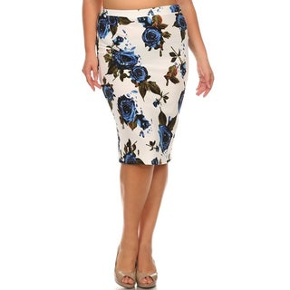 Multicolor Plus-size Floral Pencil Skirt