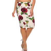 Plus Size Floral Polyester/Spandex Pencil Skirt