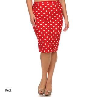 Plus Size Polka Dot Pencil Skirt