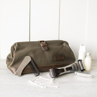 Personalized Men's Green Travel Dopp Kit (More options available)