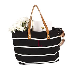 Personalized Black Striped Tote with Leather Handles