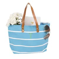 Personalized Light Blue Striped Tote with Leather Handles