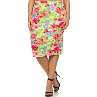 Polyester and Spandex Plus Size Floral High-waist Pencil Skirt