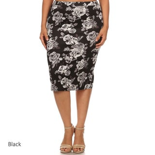 Plus Size Polyester/Spandex Floral Pencil Skirt
