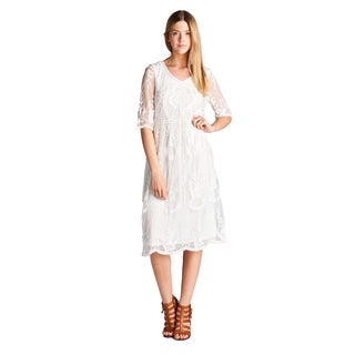 Orange Creek Women's Lace Trim Overlay Midi Dress With Scalloped Hem