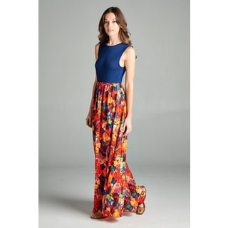 Tea n Rose Solid Bodice Bubble Crepe Floral Bottom Maxi Dress