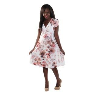 Hadari Women Short Sleeve V-Neck Flower Print Dress