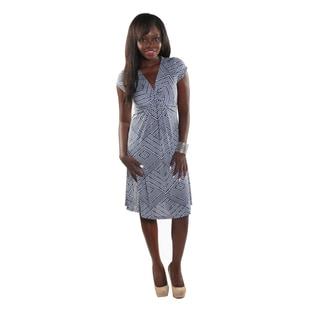 Hadari Women Short Sleeve V-Neck Diamond Pattern Dress