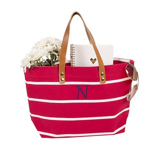 Personalized Coral Striped Tote with Leather Handles