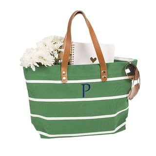 Personalized Green Striped Tote with Leather Handles|https://ak1.ostkcdn.com/images/products/12189247/P19038210.jpg?impolicy=medium