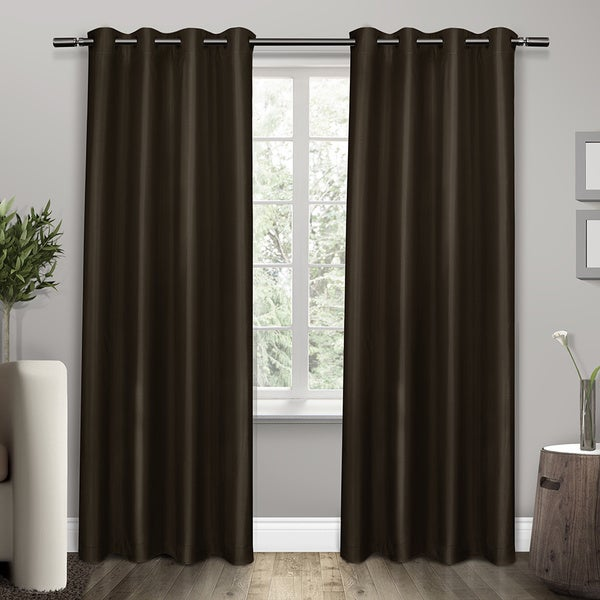 Shantung Thermal Insulated Grommet Top Curtain 84 96 Inch Length Panel Pair In Almond As Is