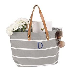 Personalized Grey Striped Tote with Leather Handles