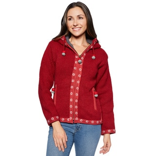 Laundromat Women's Red Wool Flower Sweater