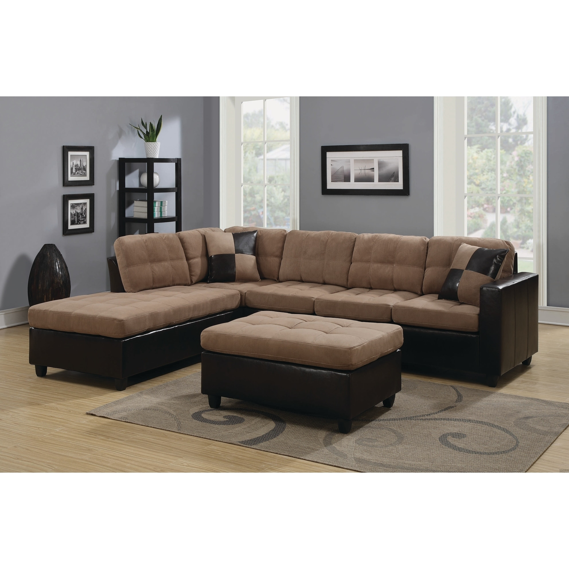 Coaster Furniture Tan/Brown Velvet Vinyl Tufted Sectional...