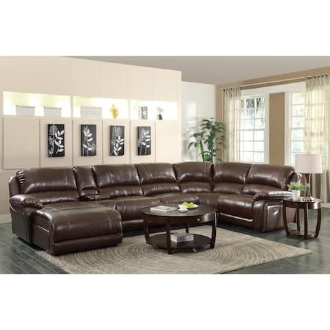 "Coaster Company Brown Leather Reclining Chaise Sectional with Cup Holders - 163"" x 84"" x 40"""