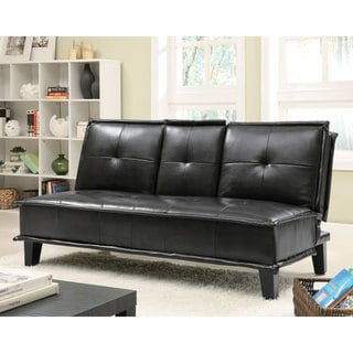 Black Vinyl Sofa Bed with Flip-down Tray