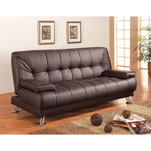 Incroyable Coaster Company Brown Vinyl Futon Sofa