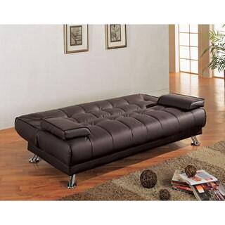 Brown Vinyl Futon Sofa