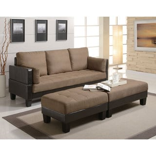 Coaster Company Tan/ Brown Microfiber and Vinyl Sofa Bed