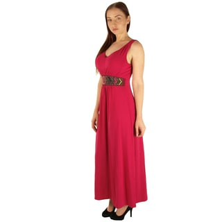 Special One Women's Pink Plus-size Maxi Dress With Beaded Waist