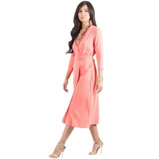 KOH KOH Women's 3/ 4 Sleeve V-Neck Wrap Knee-length Elegant Evening Dress (Option: Coral - L)