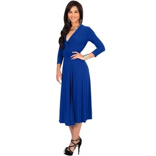 KOH KOH Women's 3/4 Sleeve V-Neck Wrap Midi Dress Stunning Cocktail Tie Around Waist Knee Length Elegant Evening Dress