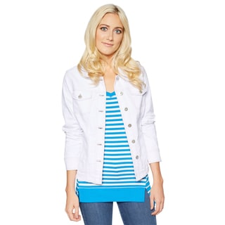 Missy White Cotton/Polyester/Spandex Button-style Jean Jacket