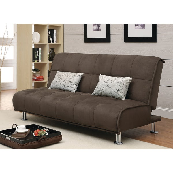 Sleeper Sofa Overstock: Shop Coaster Company Brown Microfiber Sofa Bed