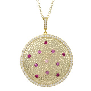 Luxiro Gold Finish Sterling Silver Lab-created Ruby and Cubic Zirconia Pendant Necklace