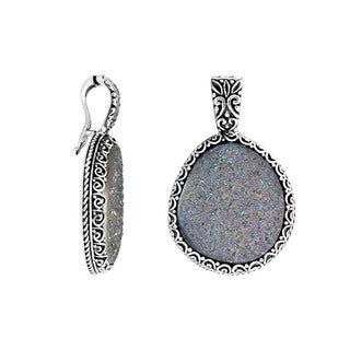 Handcrafted Artisan-made Sterling Silver Druzy Clip-on Enhancer Pendant (Indonesia)