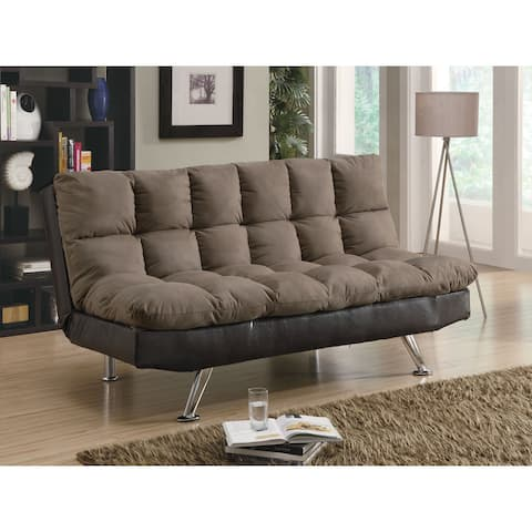 "Coaster Company Two-tone Brown Microfiber and Vinyl Sofa Bed - 70.50"" x 36"" x 37"""