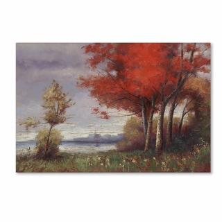 Daniel Moises 'Landscape with Red Trees' Canvas Art