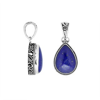 Handmade Artisan-made Sterling Silver Pear Shaped Lapis Pendant (Indonesia)