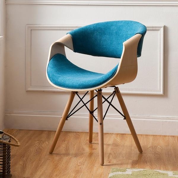 Corvus Adams Contemporary Teal Blue Velvet Accent Chair