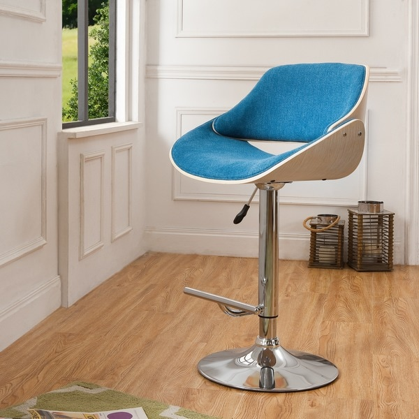 Corvus ogden contemporary teal blue velvet adjustable swivel bar stool free shipping today - Teal blue bar stools ...