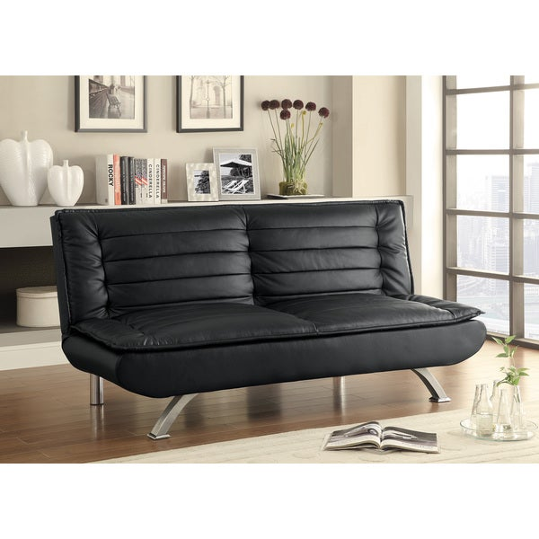 Coaster Company Black Leatherette Pillow Top Sofa Bed